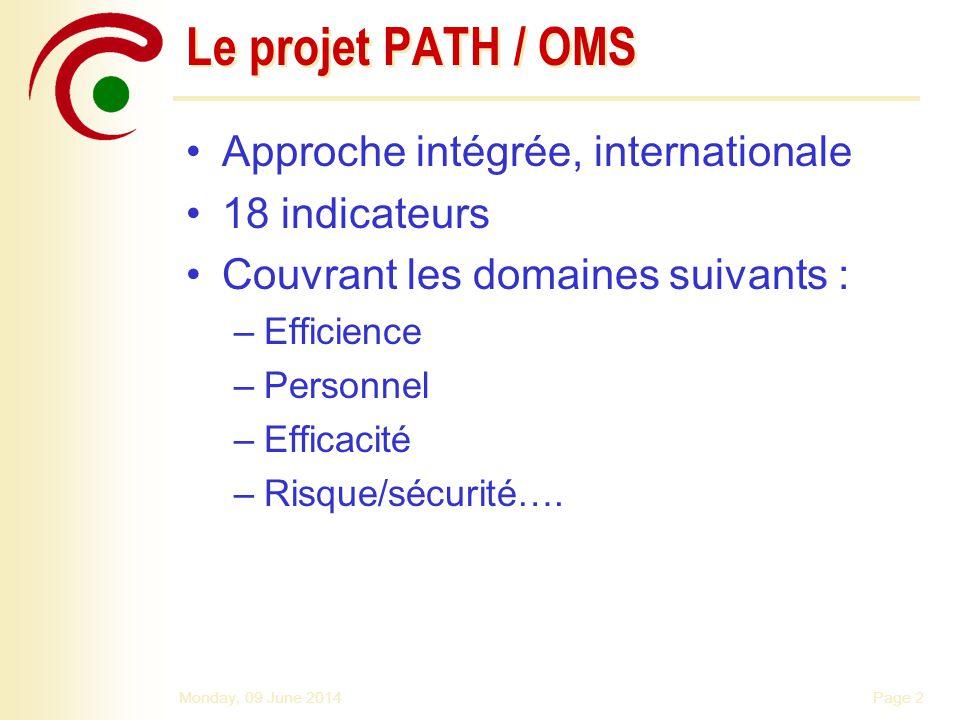 Le projet PATH / OMS Approche intégrée, internationale 18 indicateurs