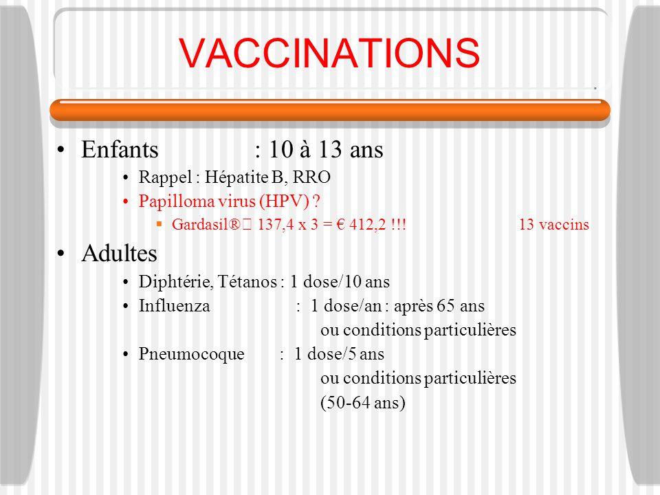 VACCINATIONS Enfants : 10 à 13 ans Adultes Rappel : Hépatite B, RRO