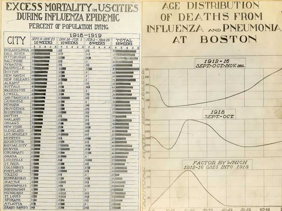 Reeve 2960- Sanitation: Age Distribution of Death from Influenza and Pneumonia at Boston, Sept.- Oct.-Nov.
