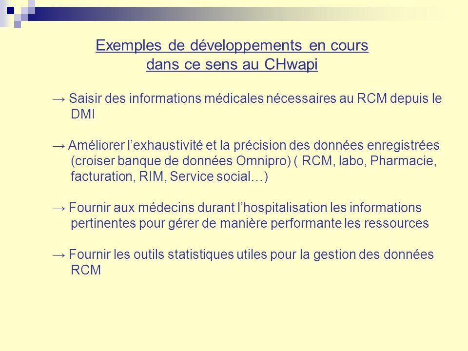 Exemples de développements en cours dans ce sens au CHwapi