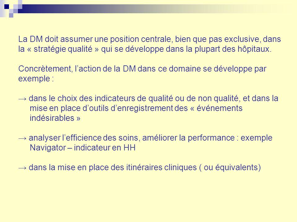 La DM doit assumer une position centrale, bien que pas exclusive, dans la « stratégie qualité » qui se développe dans la plupart des hôpitaux.