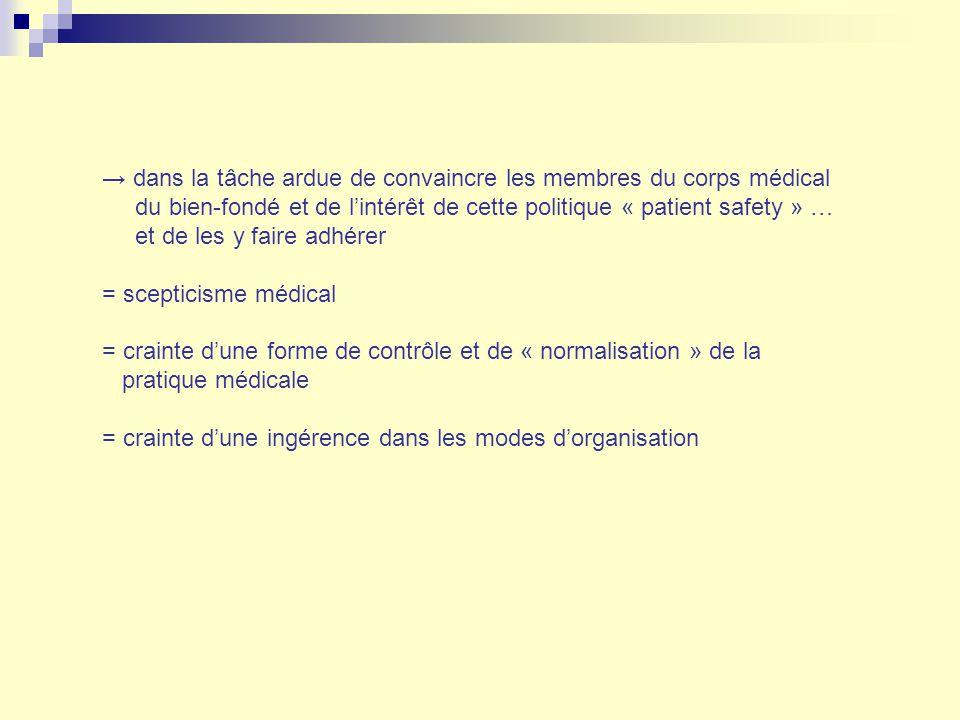→ dans la tâche ardue de convaincre les membres du corps médical du bien-fondé et de l'intérêt de cette politique « patient safety » … et de les y faire adhérer