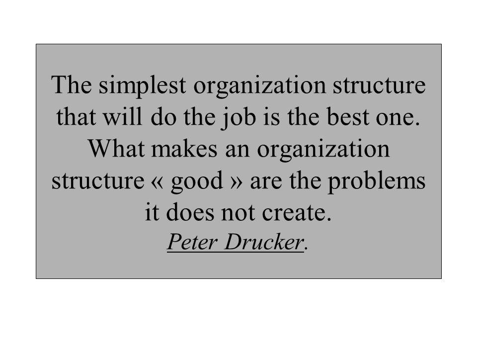 The simplest organization structure that will do the job is the best one.
