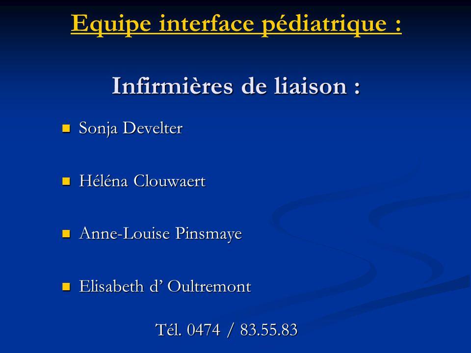 Equipe interface pédiatrique : Infirmières de liaison :