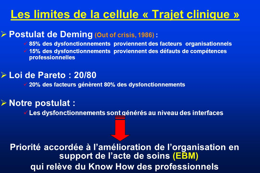Les limites de la cellule « Trajet clinique »