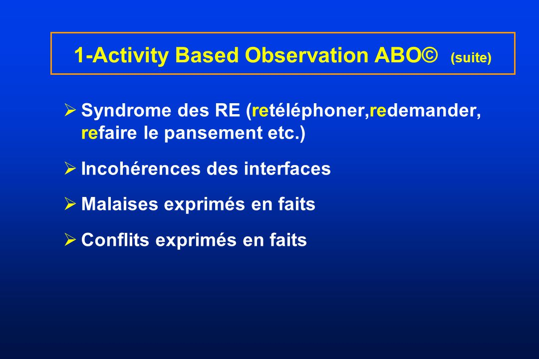 1-Activity Based Observation ABO© (suite)