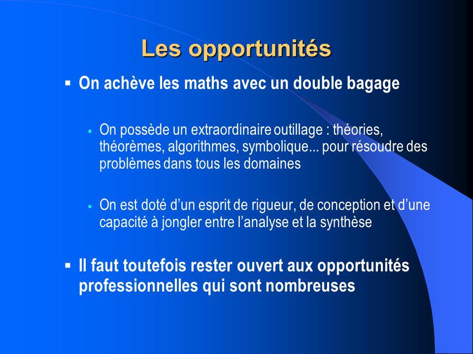 Les opportunités On achève les maths avec un double bagage