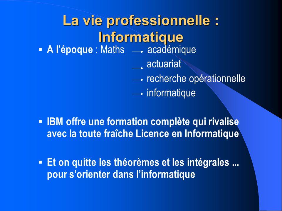 La vie professionnelle : Informatique