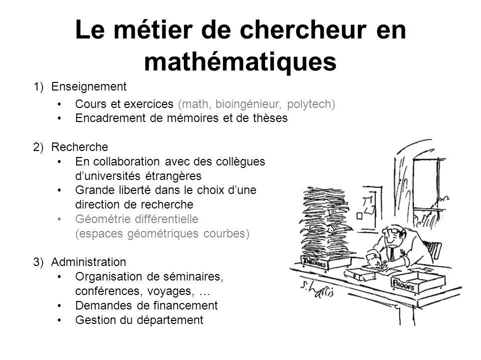 Le métier de chercheur en mathématiques