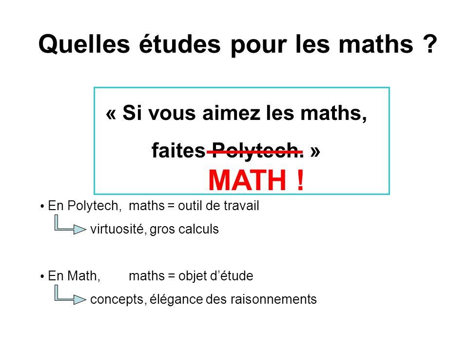 Quelles études pour les maths