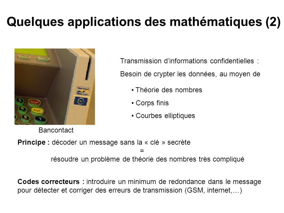 Quelques applications des mathématiques (2)