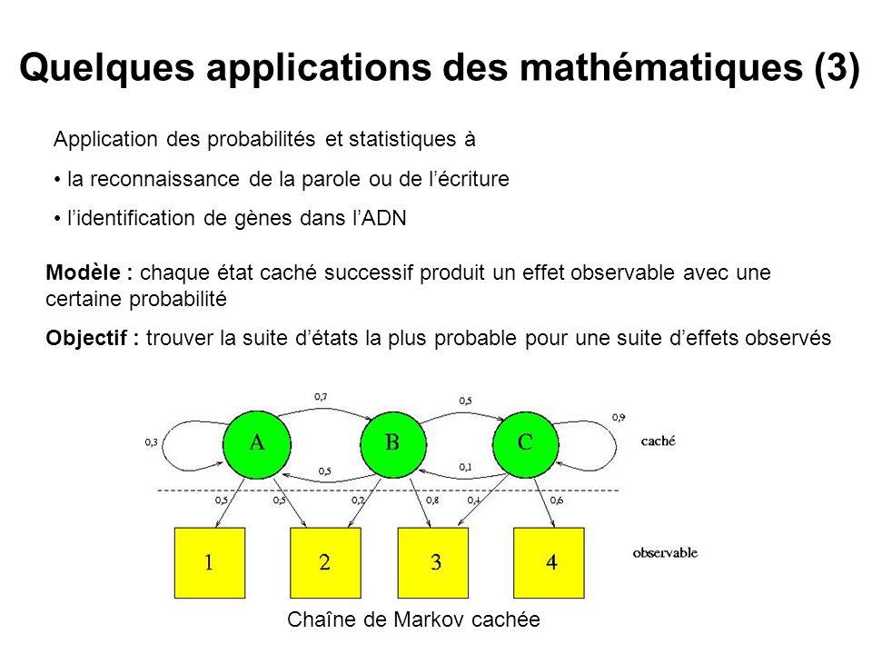 Quelques applications des mathématiques (3)