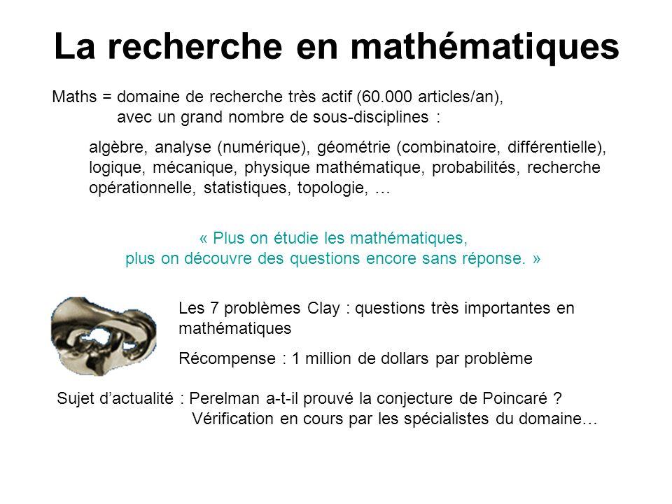 La recherche en mathématiques