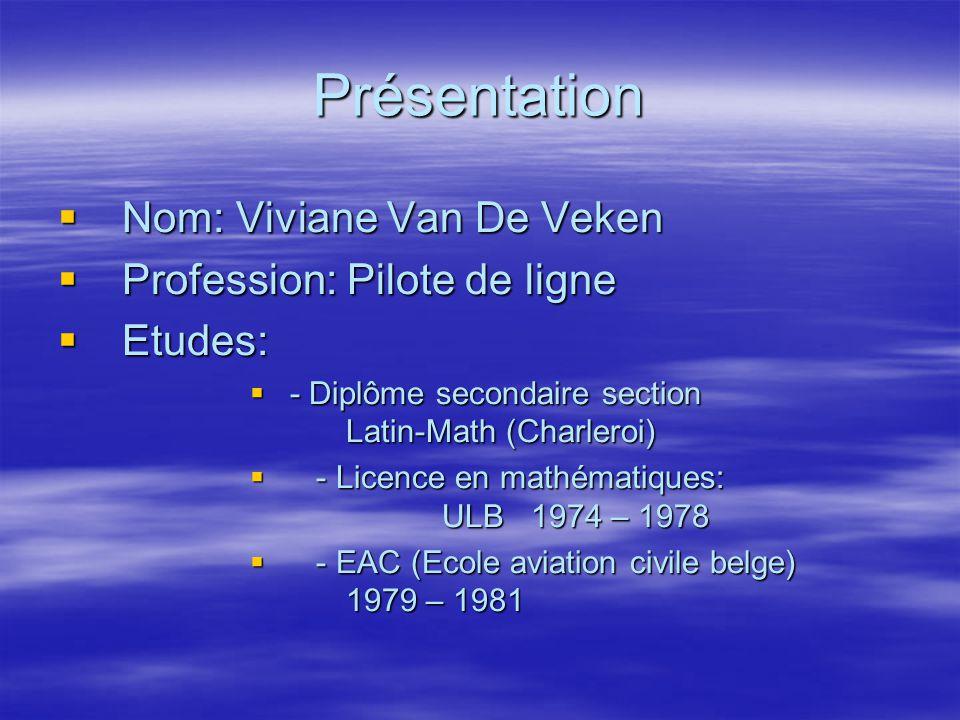 Présentation Nom: Viviane Van De Veken Profession: Pilote de ligne