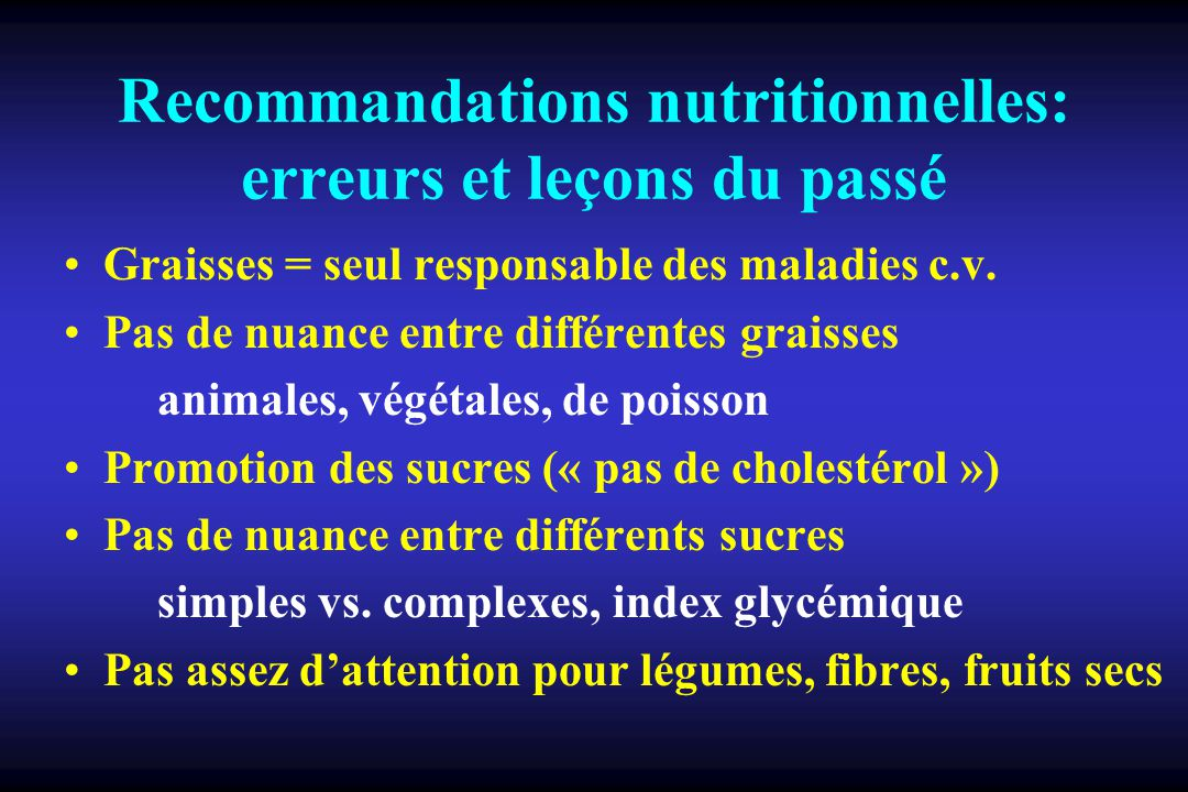 Recommandations nutritionnelles: erreurs et leçons du passé