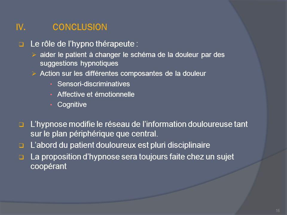 CONCLUSION Le rôle de l'hypno thérapeute :