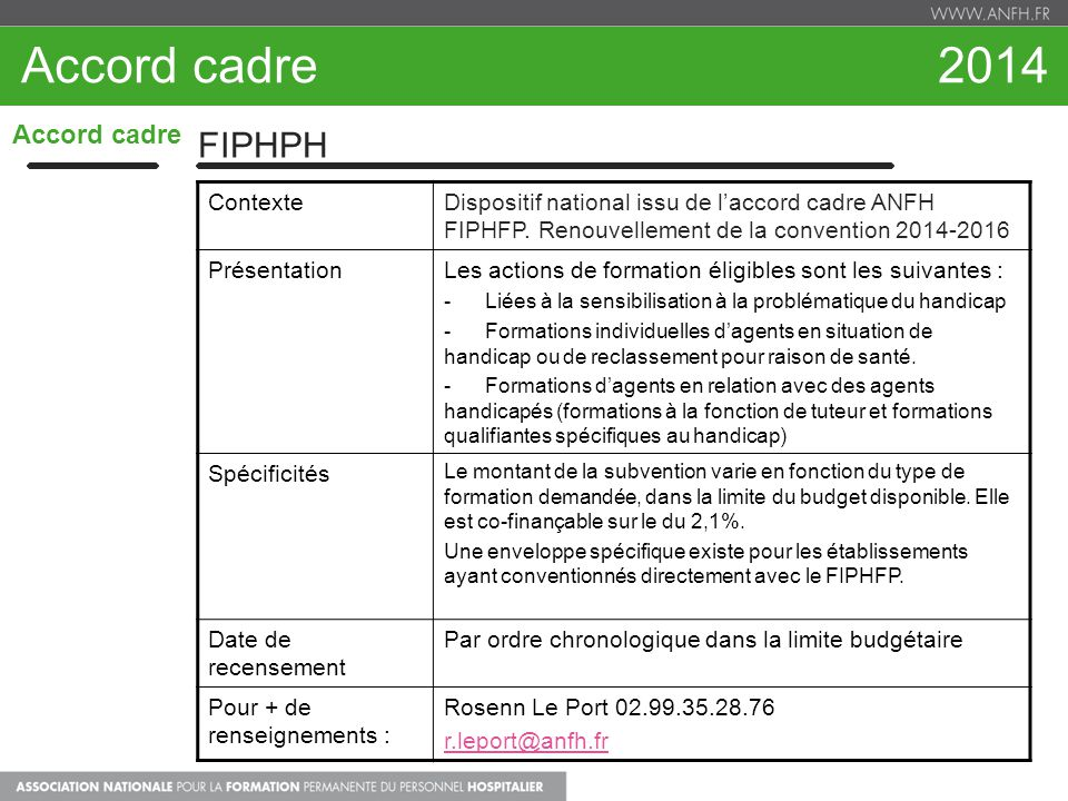 Accord cadre 2014 FIPHPH Accord cadre Contexte