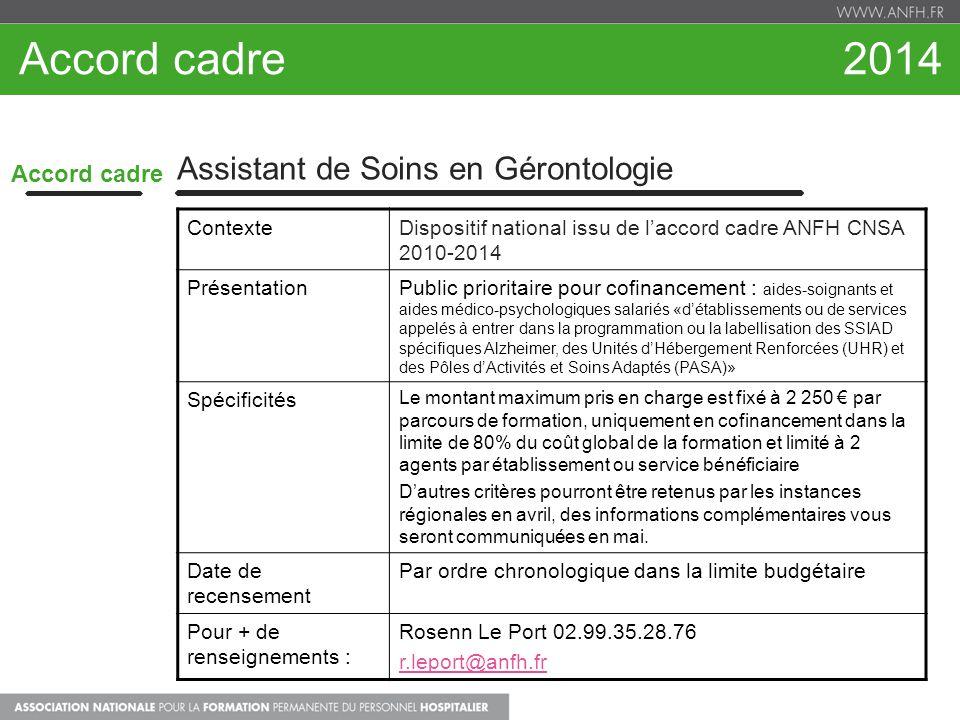 Accord cadre 2014 Assistant de Soins en Gérontologie Accord cadre