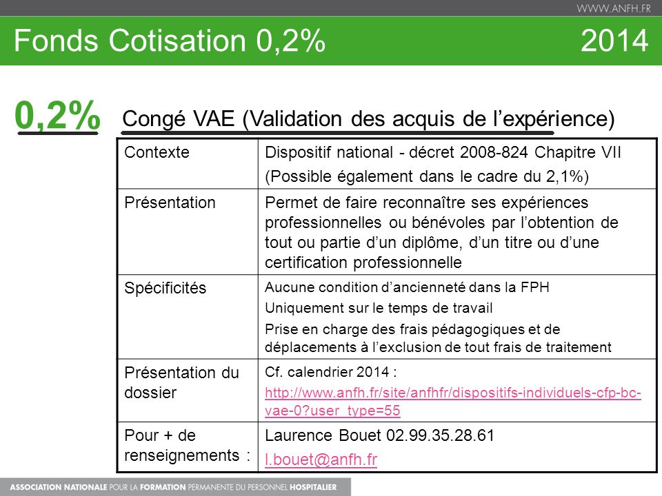 Fonds Cotisation 0,2% 2014 0,2% Congé VAE (Validation des acquis de l'expérience)