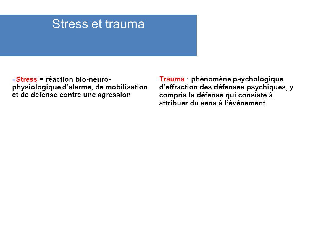 Stress et trauma Stress = réaction bio-neuro- physiologique d'alarme, de mobilisation et de défense contre une agression.
