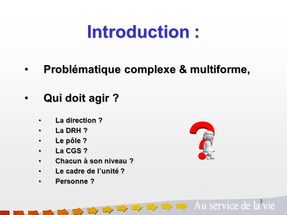Introduction : Problématique complexe & multiforme, Qui doit agir