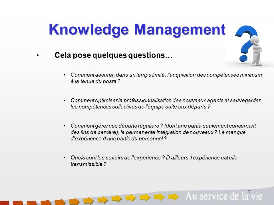 Knowledge Management Cela pose quelques questions…