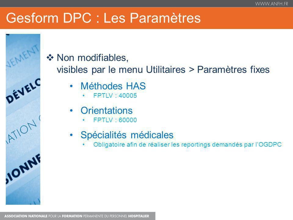 Gesform DPC : Les Paramètres