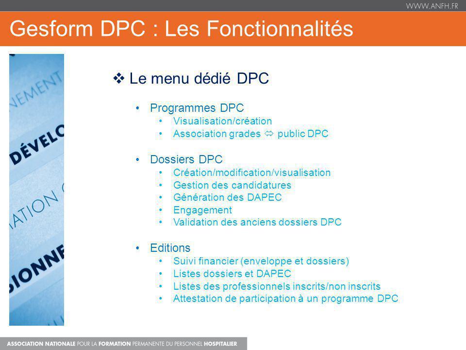Gesform DPC : Les Fonctionnalités