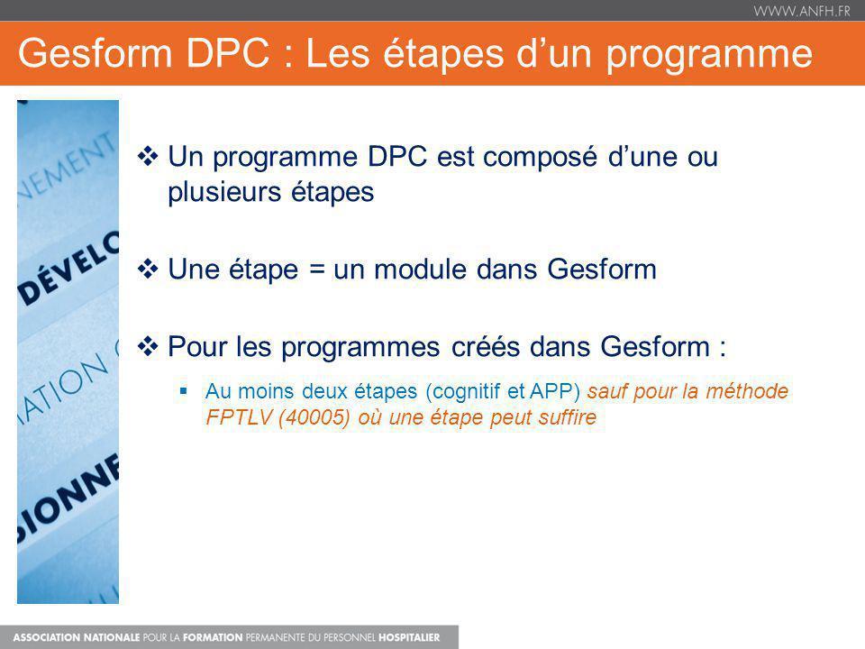 Gesform DPC : Les étapes d'un programme