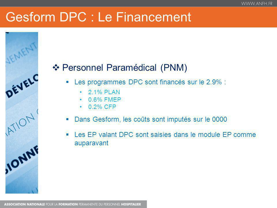 Gesform DPC : Le Financement