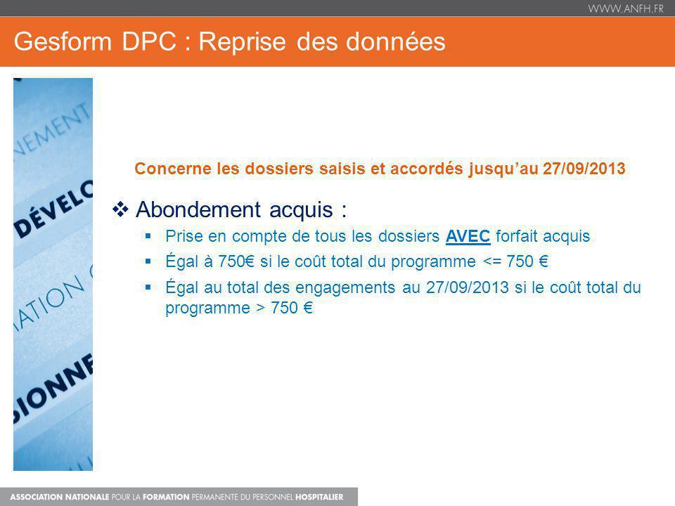 Gesform DPC : Reprise des données