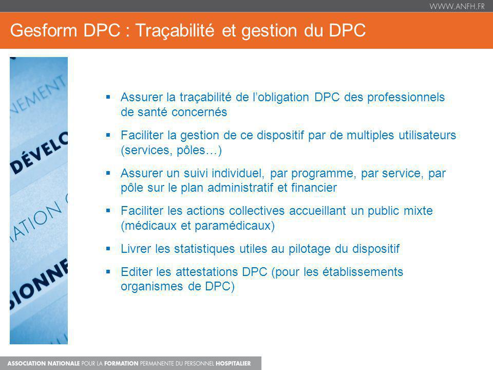 Gesform DPC : Traçabilité et gestion du DPC