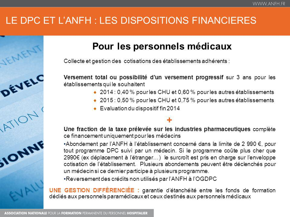 LE DPC ET L'ANFH : LES DISPOSITIONS FINANCIERES