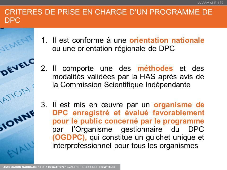 CRITERES DE PRISE EN CHARGE D'UN PROGRAMME DE DPC