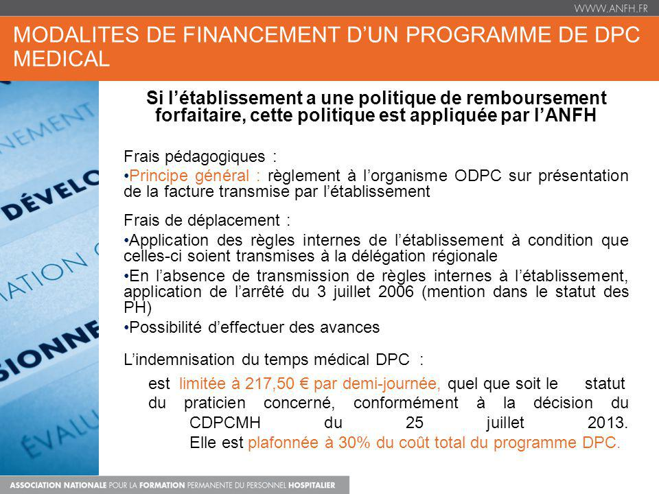 MODALITES DE FINANCEMENT D'UN PROGRAMME DE DPC MEDICAL