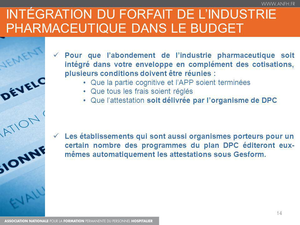 intégration du forfait de l'industrie pharmaceutique DANS LE BUDGET