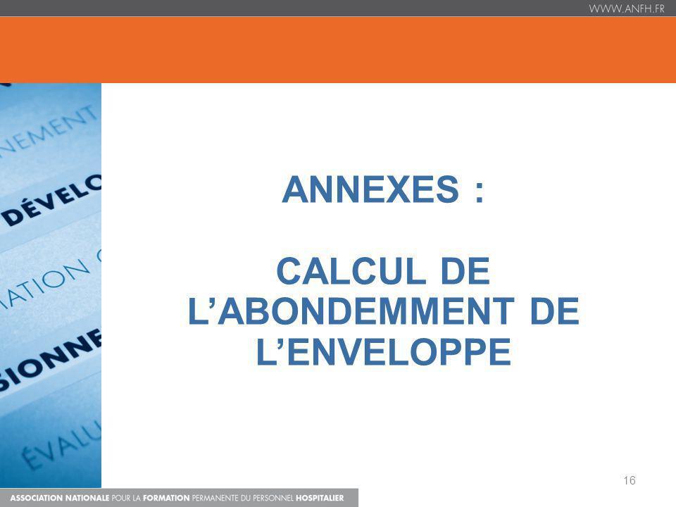 ANNEXES : CALCUL DE L'ABONDEMMENT DE L'ENVELOPPE