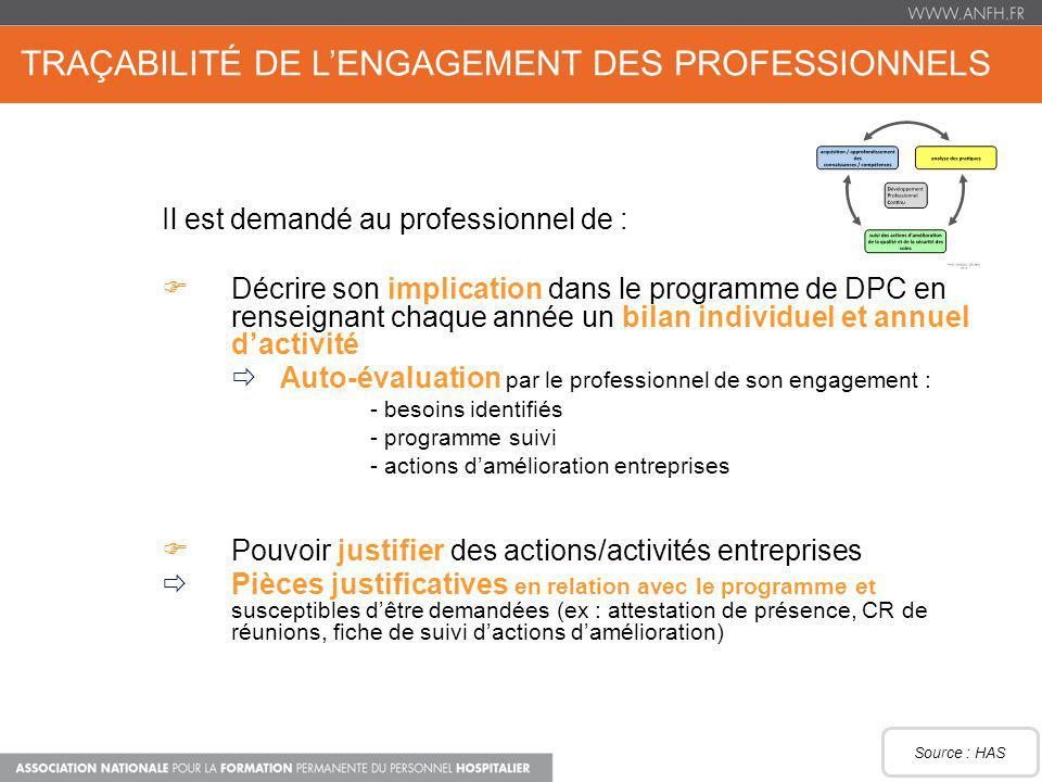 Traçabilité de l'engagement des professionnels
