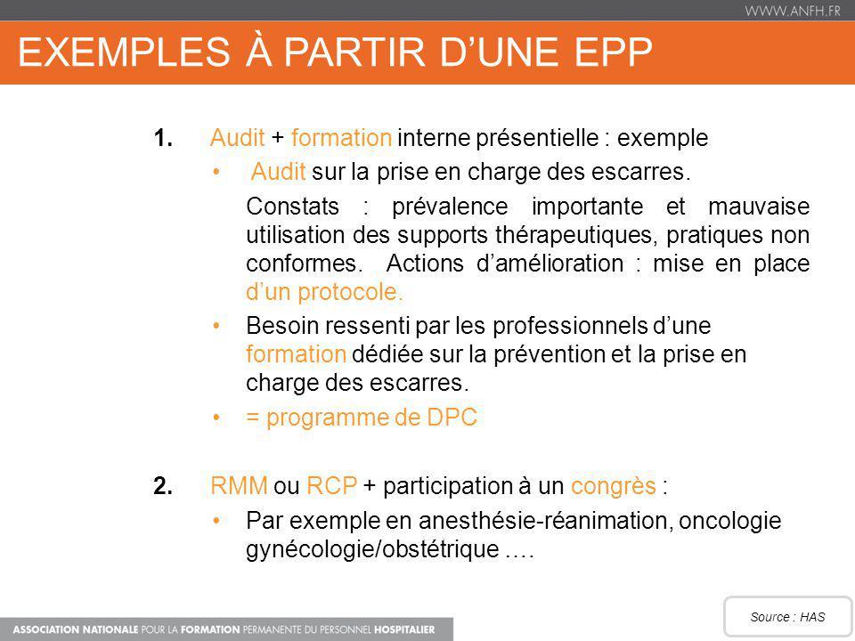 Exemples à partir d'une EPP