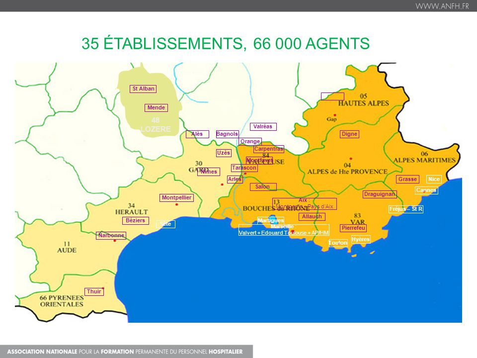 35 établissements, 66 000 agents