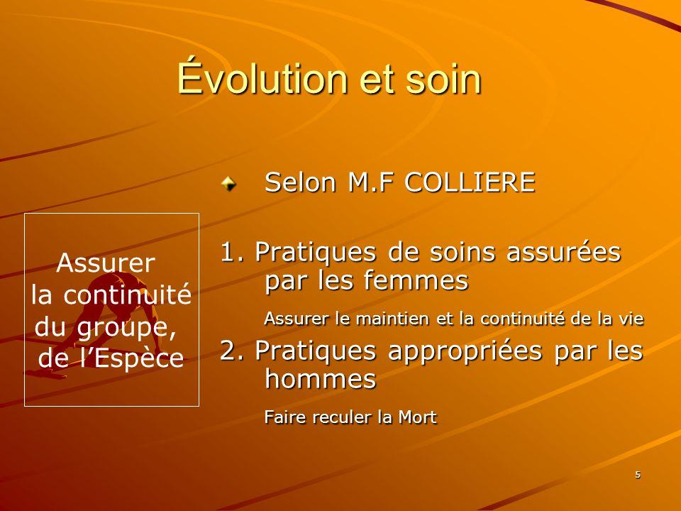 Évolution et soin Selon M.F COLLIERE