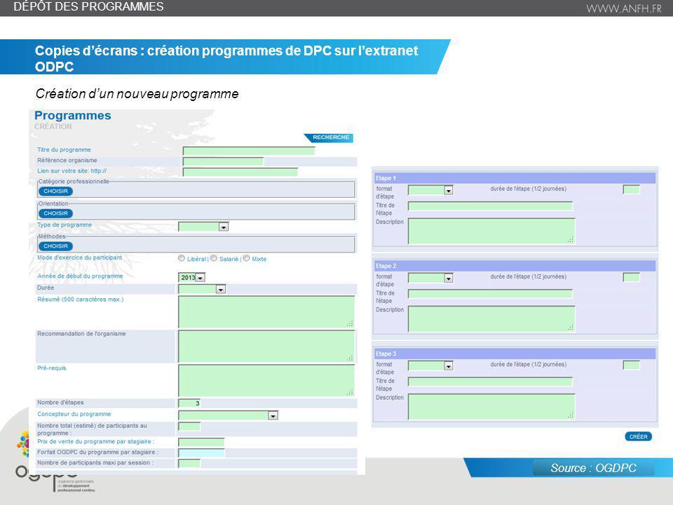 Copies d'écrans : création programmes de DPC sur l'extranet ODPC