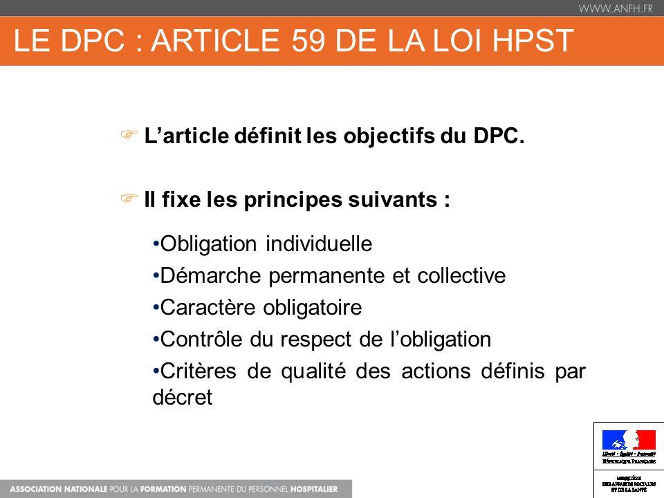 Le dpc : Article 59 de la loi HPST