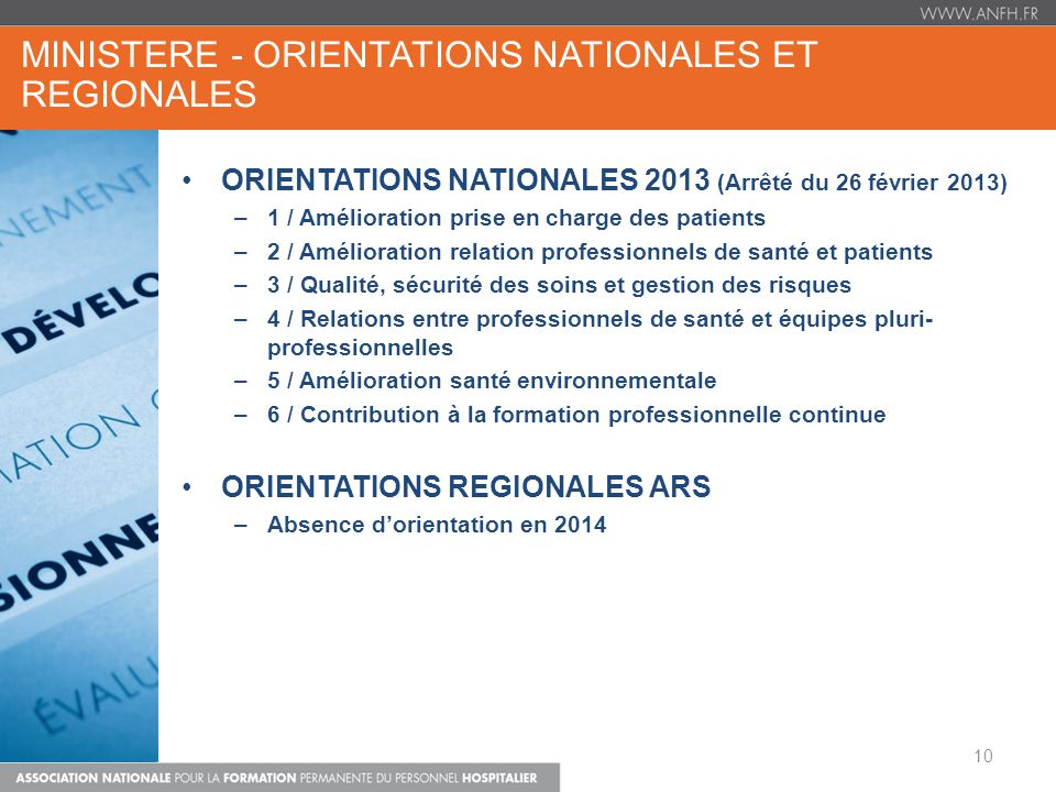 MINISTERE - ORIENTATIONS NATIONALES et REGIONALES