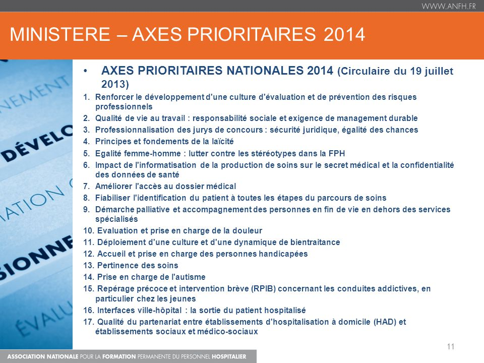 MINISTERE – AXES PRIORITAIRES 2014
