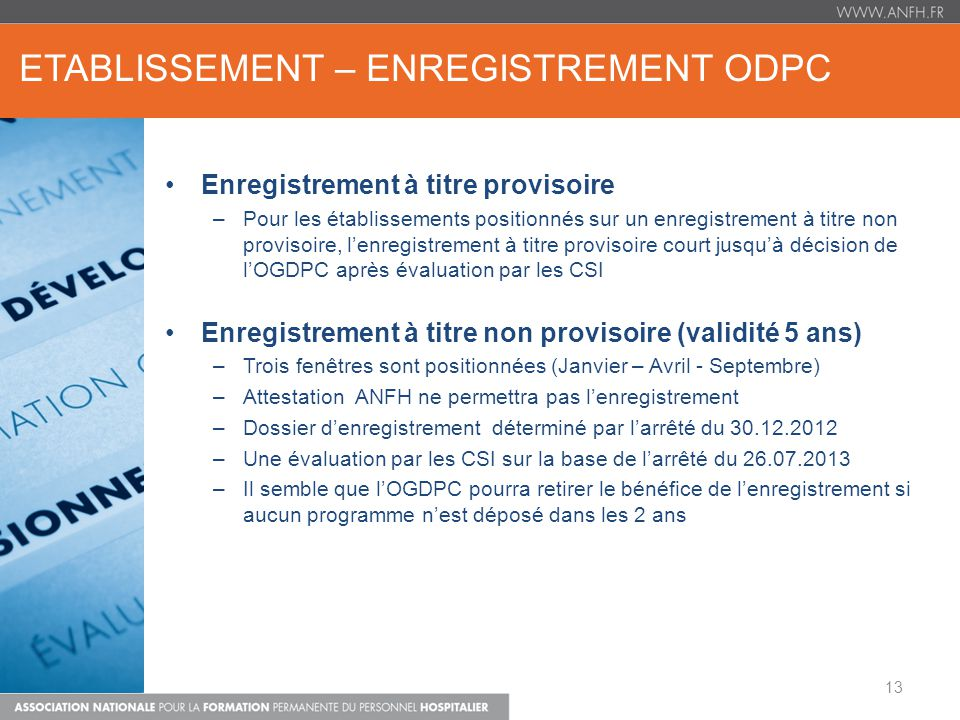 eTABLISSEMENT – ENREGISTREMENT ODPC