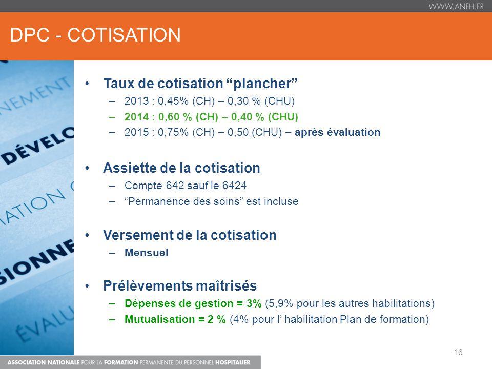 DPC - COTISATION Taux de cotisation plancher