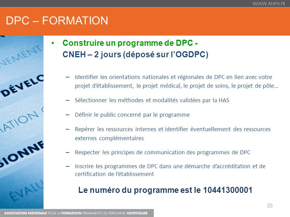 Le numéro du programme est le 10441300001