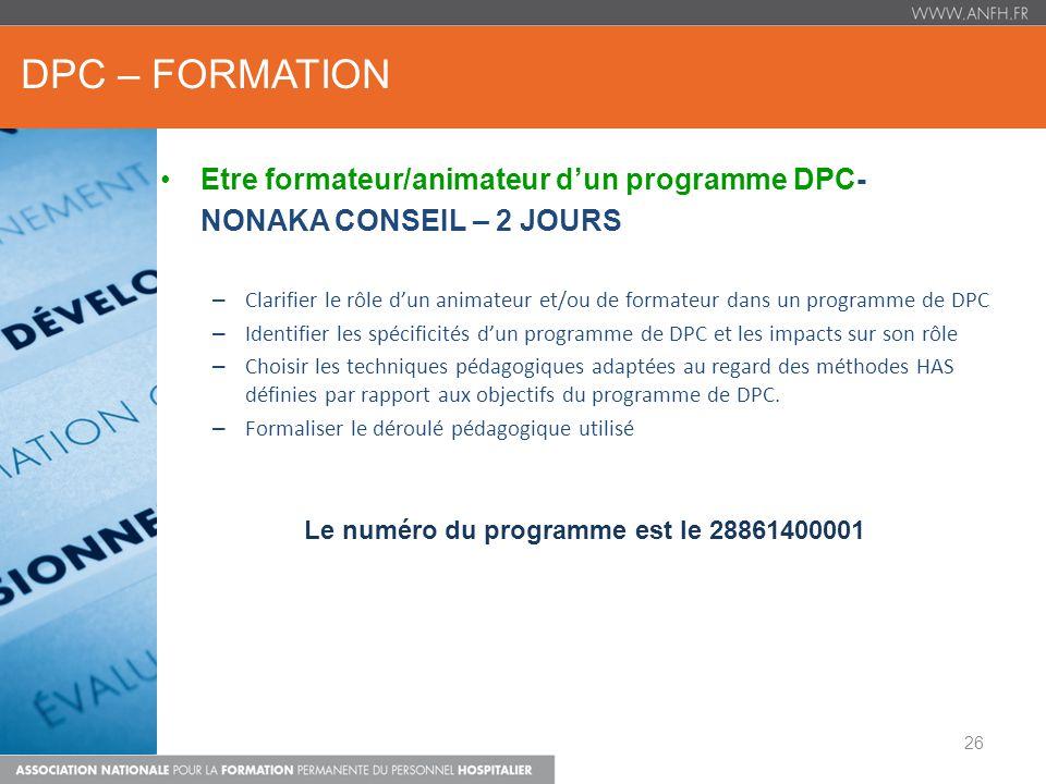 Le numéro du programme est le 28861400001