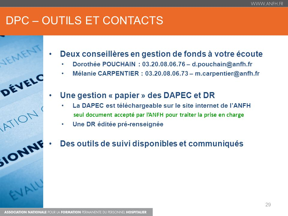 DPC – OUTILS ET CONTACTS